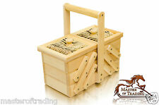 Beautiful 23cm Natural Pin Cushioned Wooden Handcrafted Sewing Jewellery Box
