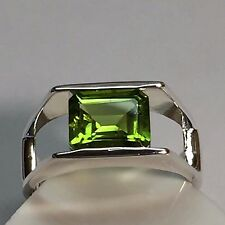 Natural 2ct Emerald Cut Peridot 925 Solid Sterling Silver Solitaire Ring sz 6