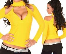 Sexy Miss señora Neck hebillas Top Glamour V camisa manga larga amarillo 34/36/38 nuevo