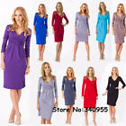 Womens OL V-Neck Stretchy Maternity Tunic Dress Long Sleeve Cocktail Basic Dress