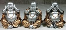 3 Wise Happy Buddha Figurines HEAR SPEAK SEE NO EVIL Gold & Silver 11cm BUDDF3