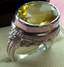 Antique Style 925 Sterling Silver Oval Shape 16x10 Natural Citrine Ring skaisD16