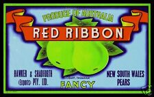 Pear Label: Tasmania - Original - Red Ribbon - Fancy