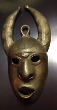 Small Brass Mask Africa Unusual Horns Nostrils Pursed Mouth Vintage