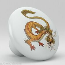 Chinese Dragon Ceramic Knobs Pulls Kitchen Drawer Cabinet Vanity Closet 536
