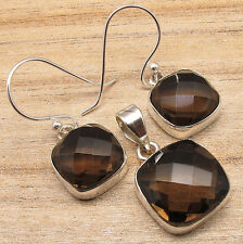 BROWN EARRINGS & PENDANT SET JEWELRY STORE ! SMOKY QUARTZ ! 925 Silver Plated