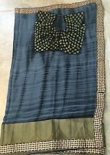 Gray Black Tie Dye Saree India Sari Chiffon Benaras Blouse Trendy Fancy Border