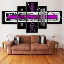 Abstract Wall Art Black Purple Modern Canvas Print Painting Home Decor 5 PCS