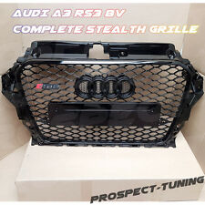 PT AUDI A3 8V to RS3 S3 STEALTH ALL GLOSS BLACK HONEYCOMB GRILLE 2012 - 2015