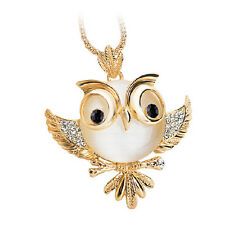 Vintage Gold Plated Owl Pendant Long Opal Crystal Necklace Sweater Chain Jewelry