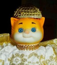 """GOEBEL-BETTY BALL-DOLLY DINGLE DOLLS-PORCELAIN Angel CAT- 8""""H /STAND INC-AGE 10+"""