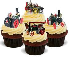 12 Vintage Mamod Traction Engine Mix EDIBLE WAFER CAKE TOPPERS STAND UPS Card