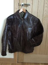 Mens Brown Genuine Real Leather Harrington style Jacket size S