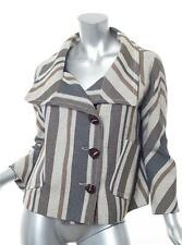 DEREK LAM Womens Beige+Navy Striped Cropped Oversized Swing Jacket Coat 8