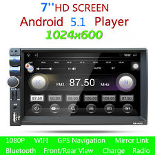 """7"""" HD Android Bluetooth 1080p Car Stereo GPS 2DIN Audio MP3 MP5 Player Radio FM"""