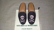 "CUTE! $450 Stubbs and Wootton Linen ""SKULL & BONES"" Mules Slippers Loafers Shoes"