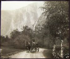 Glass Magic Lantern Slide HORSE & CARRAIGE C1890 PHOTO SOUTH NORWAY NO104
