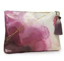 Pretty Plum Watercolor Large Accessory Bag Clutch Pouch Purple Tassel Papaya Art