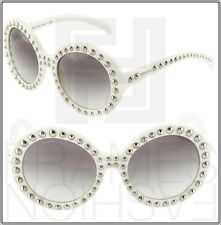 PRADA ORNATE Round Sunglasses PR29QS White Silver Stud Women PR 29QS Gradient