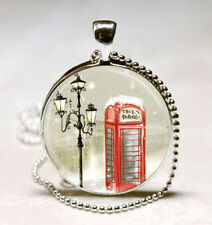 Vintage phone booth Cabochon Silver plated Glass Ball Chain Pendant Necklace