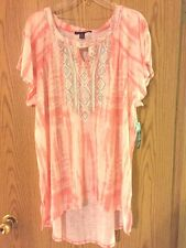 Lovely French Laundry Peach/Aqua Cover-Up Peek-a-Boo Shoulders Mullet 2X 3X NWT