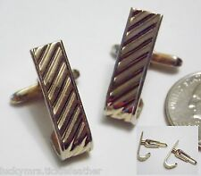 Vintage Signed HICKOK USA Cufflinks, Diagonal Ridge GT Panel, J-Curve Under Cuff