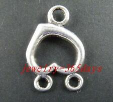 15pcs Tibetan Silver 2-to-1 Heart Connectors 22x15x3mm 205