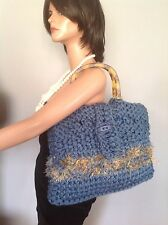 Hand Knit Bag Purse Denim Blue Tertoise Like Handles Original Design Fashion Hip