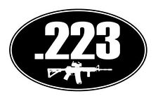 .223 oval with ar15 vinyl sticker decal bumper gun rifle bullet