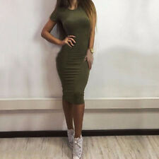 Women Lady Summer Short Sleeve Bodycon Cocktail Party Evening Slim Pencil Dress