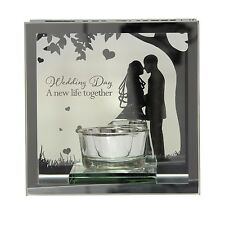 "Reflections of the heart Mirror Tea light candle holder  ""Wedding Day"""