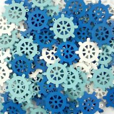 50pcs Mixed Blue White Wood Rudder Flatback/Buttons Lots Sew Craft Cards