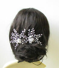 2 White Silver Pearl Bridal Vine Hair Pins Flower Bead Wire Headpiece Set 1390