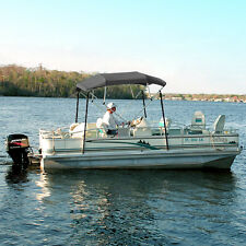 "4 BOW BIMINI PONTOON DECK BOAT COVER TOP 91-96"" GRAY 8' FT INCLUDES HARDWARE"