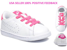 $45 NEW Girls 9C NIKE TENNIS CLASSIC PRM TD WHITE HOT PINK SNEAKERS