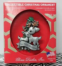 BABY'S FIRST CHRISTMAS PEWTER ORNAMENT Our Reindeer Duchin 1st Keepsake Gift NEW