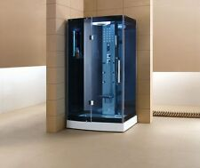 "47"" Walk In Steam Shower w/Blue Glass-3KW Steam Generator-7 YEAR WARRANTY"