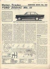 Ford Zodiac Mk III Motor Trader datos de servicio Nº 435 1965