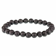Jet Black Lava Stone Rock 8mm Bead Bracelet for Men by Urban Male