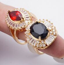 Wholesale 2Pcs/lots Pretty Rings Gold Filled Cubic Zircon Rings Mixed Size
