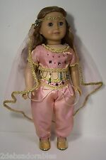 "PINK Genie Belly Dancer Gypsy Costume Clothes For 18"" American Girl Dolls (Debs)"