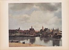 """1939 Vintage """"VIEW OF DELFT"""" by VERMEER A GORGEOUS Color Art Plate Lithograph"""