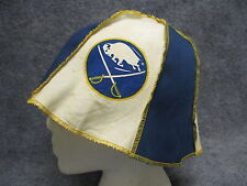 Vintage 1970s ? Buffalo Sabres Cloth Hat Beanie Cap Stitched Panel w/ Print Logo