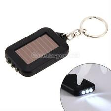 Mini Solar Power Rechargeable 3 LED Flashlight Keychain Light Lamp Torch Black