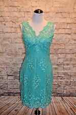 Modcloth Let It Beguile Dress Jade NWOT Sz S  $125 Sheath Embroidered scalloped