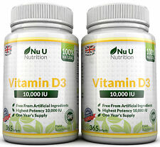 2 BOTTLES VITAMIN D3 10,000 iu +730 Soft gels +100% Money Back Guarantee