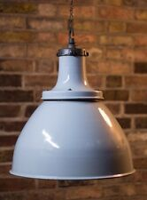 RUN OF VINTAGE INUSTRIAL G.E.C GREY ENAMEL PENDANT LIGHT RARE LARGE! 1940/50's