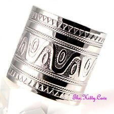 Silver Rhodium Pl Roman Egyptian Cleopatra Pharaoh Tribal Slave Wide Bangle Cuff