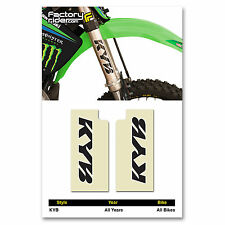 KYB Fork STICKERS Mx Dirt Bike GRAPHICS  FITS ALL Bikes! CLEAR  & BLACK KYB LOGO