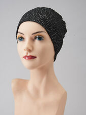Very Chic CHEMO CAP Black Sparkle LOUNGING SLEEP Hat Cancer Beanie Turban Scarf